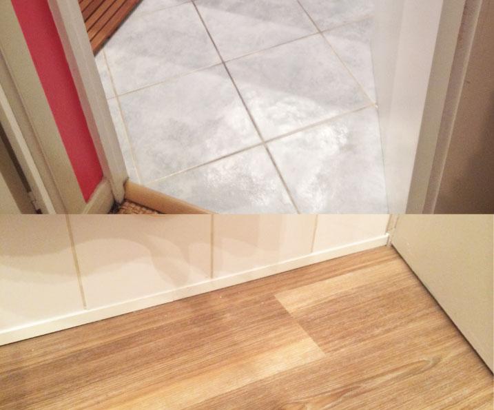 Sol salle de bain, PVC collé marque Objectflor gamme Expona